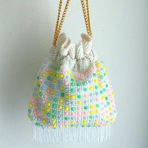 60s Pastel Candy Dot Chain Fringe Purse Cinch Bag
